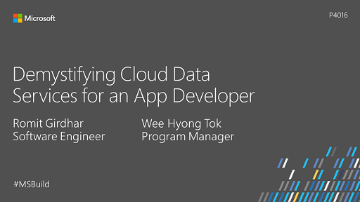 Demystifying Cloud Data Services for an App Developer