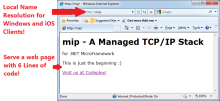 mIP - 100% C# Managed TCP/IP Stack for the .NET Micro Framework