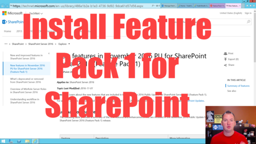 Install Feature Pack 1 for SharePoint Server 2016