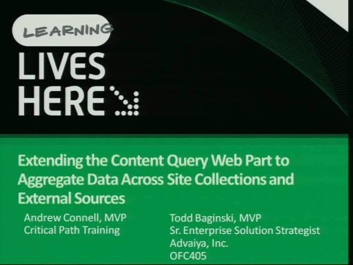 Extending the Content Query Web Part to Aggregate Data Across Site Collections and External Sources