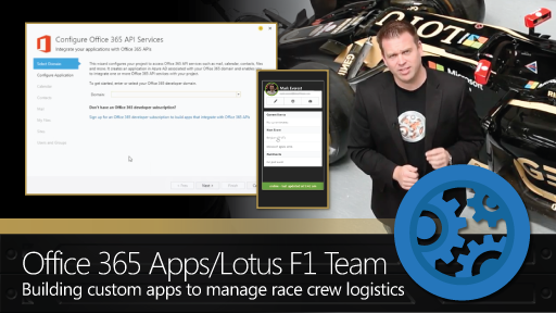 Building custom Office 365 apps to manage Lotus F1 Team race crew logistics.