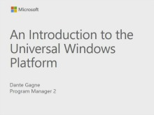 Introduction to Universal Windows Platform