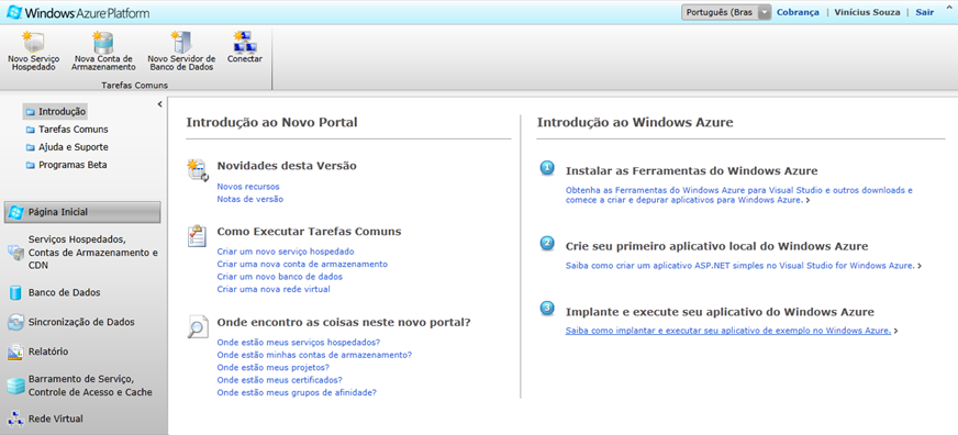 Windows Azure Portal de gerenciamento