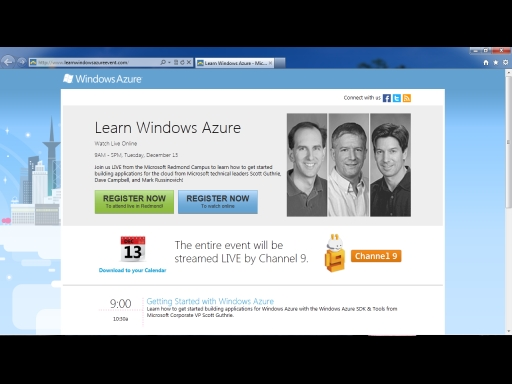 Announcing the Learn Windows Azure Live Event!