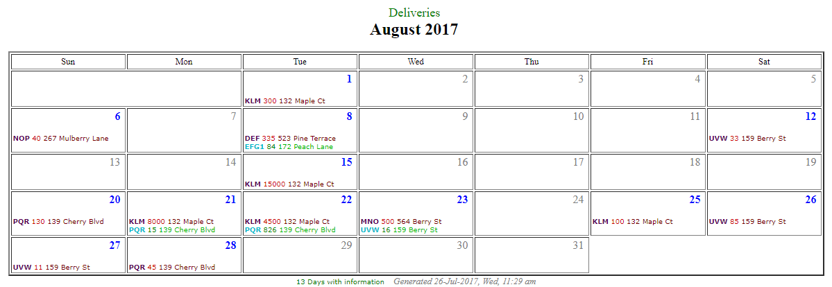 Calendar showing Deliveries from data in Microsoft Access
