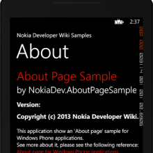 About about... Here's an Windows Phone About page sample