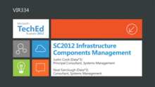 SC2012 Infrastructure Components Management