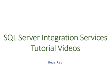 SQL Server Integration Services Tutorial Videos