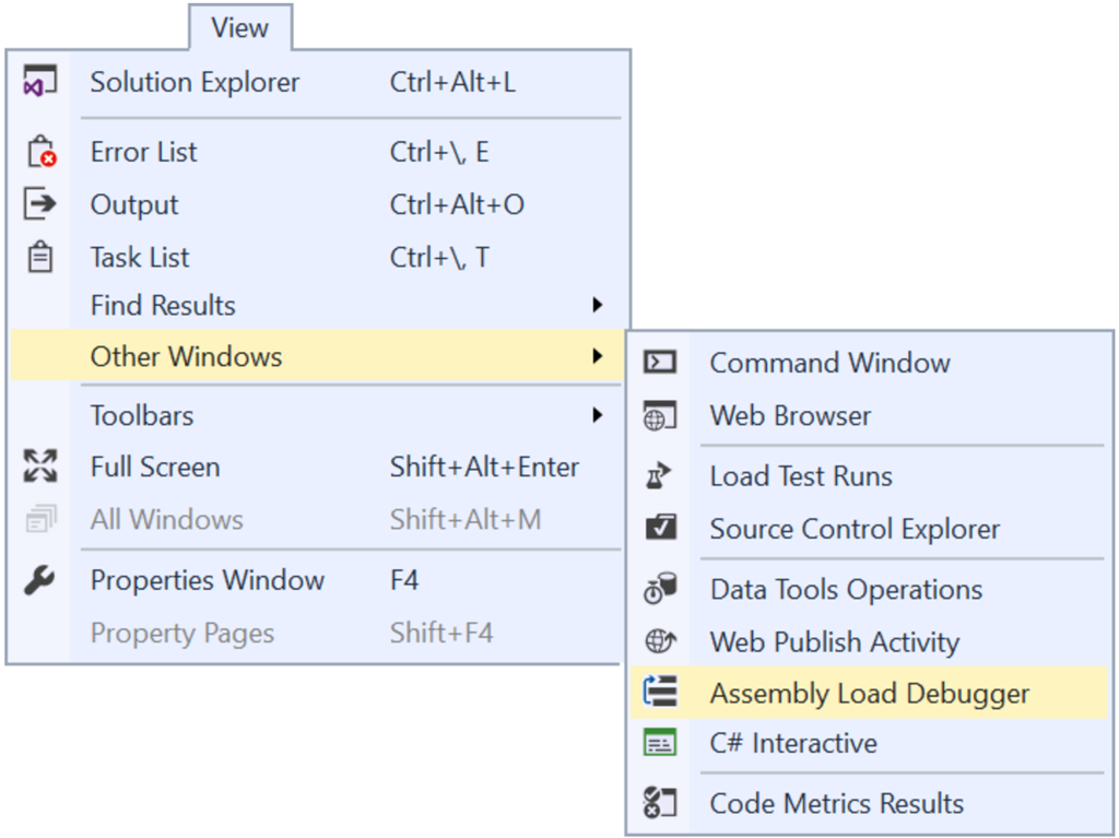 Assembly load debugger for visual studio 2017 for Window load event